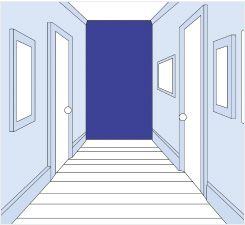 How to create width in your hall? A long narrow hall will appear shorter and wider if the end walls are decoratee with a dark or warm shade of color, and the side walls with a light or pastel color.