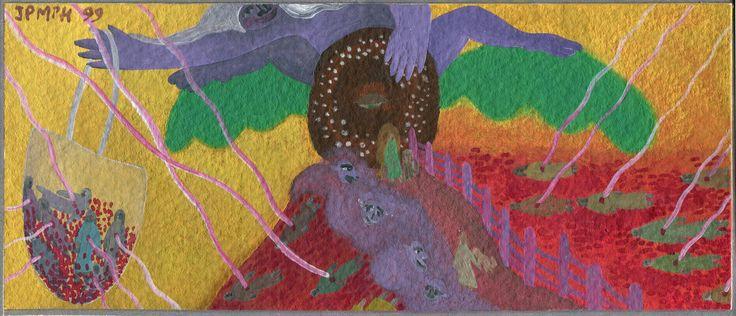 Diese kleine Gouache-Malerei ( 19,7 x 8,5 cm) auf Filzunterlage wurde vor einigen Jahren von seiner vormaligen Besitzerin in Frankreich der Künstlerin, einer jungen Frau mit Kind, anlässlich eines Atelier-Rampenverkaufs abgekauft. Leider ist nicht mehr über die  Künstlerin bekannt, welche die Arbeit mit JPMPH 99 signiert hat.
