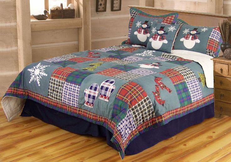 Merry Christmas Snowmen Snowflakes Twin Bedding Set Quilt