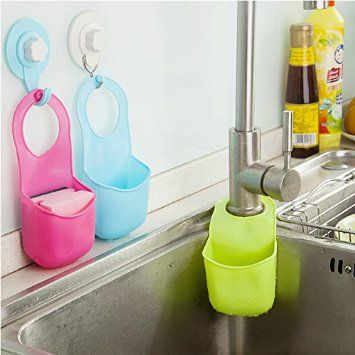 YIXIN Kitchen Bathroom Sponge Soap Water Draining Hanging Holder Organizer for Faucet Sink Caddy, Set of 3 Color