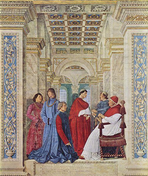 Melozzo da Forli, Pope Sixtus IV appoints Bartolomeo Platina prefect of the Vatican Library, 1477