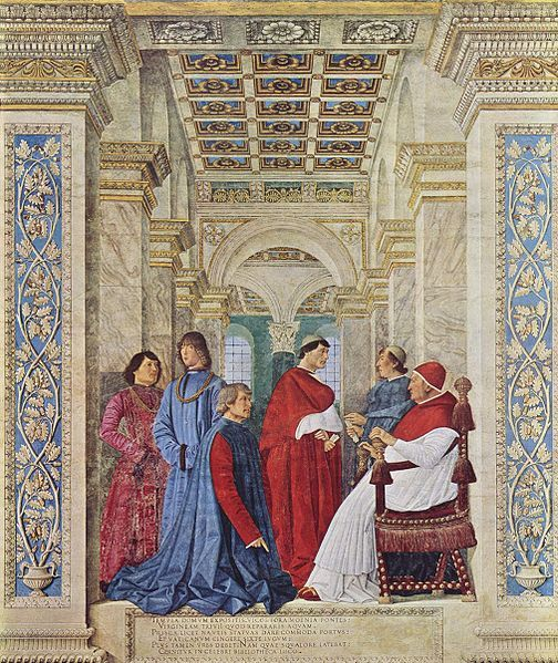 Melozzo da Forli, Pope Sixtus IV appoints Bartolomeo Platina prefect of the Vatican Library, 1477