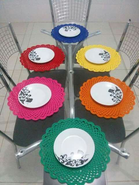 Mantel redondo individual crochet