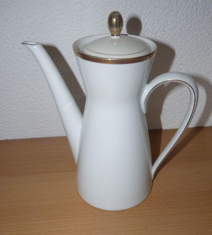 Porzellan - Rosenthal - Kaffeekanne - weiss mit Goldmuster - Kanne