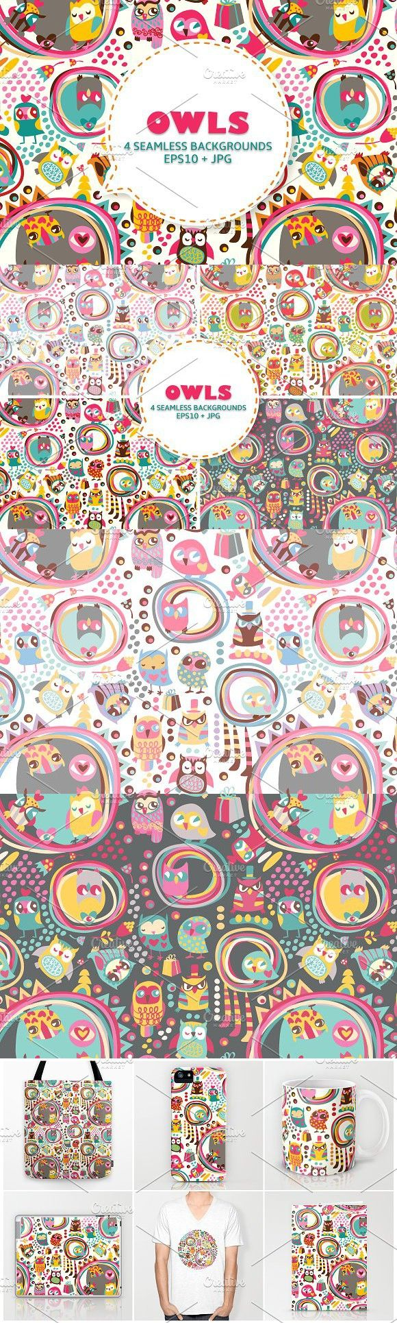 Cute owls seamless background. Patterns. $6.00