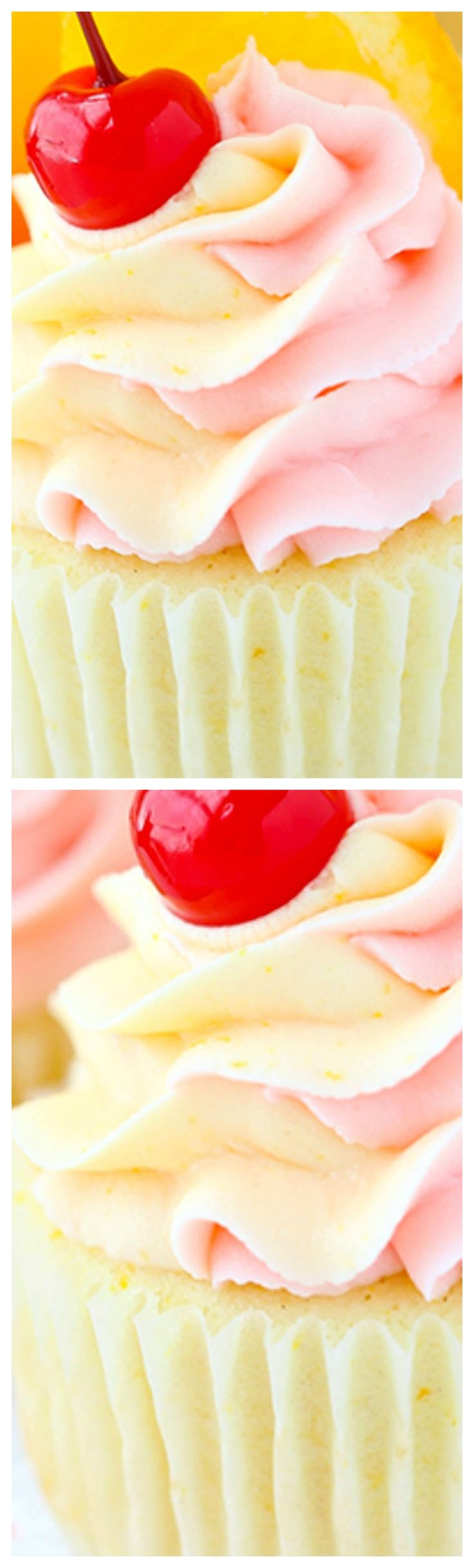 Tequila Sunrise Cupcakes ~ Fun, fruity and spiked to resemble a favorite cocktail... With flavors of orange, grenadine and tequila, it's a delicious combination!