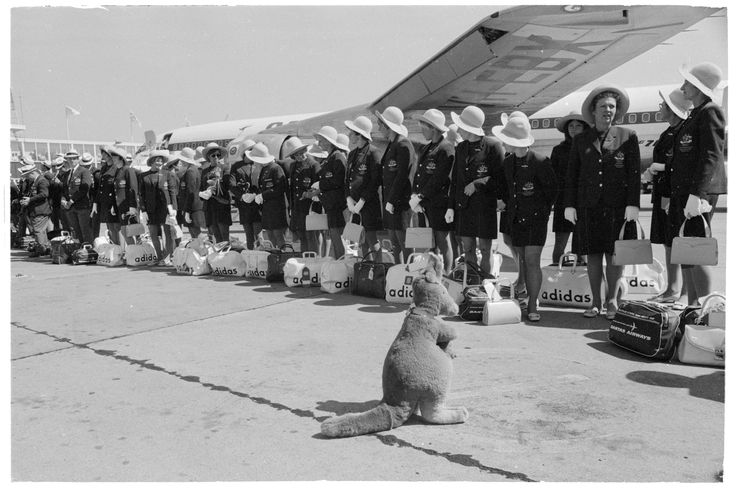 The Australian Olympic Team departs on Qantas for Mexico, Mascot, 16 September 1968. Australian Photographic Agency Collection, State Library of New South Wales: http://www.acmssearch.sl.nsw.gov.au/search/itemDetailPaged.cgi?itemID=145633