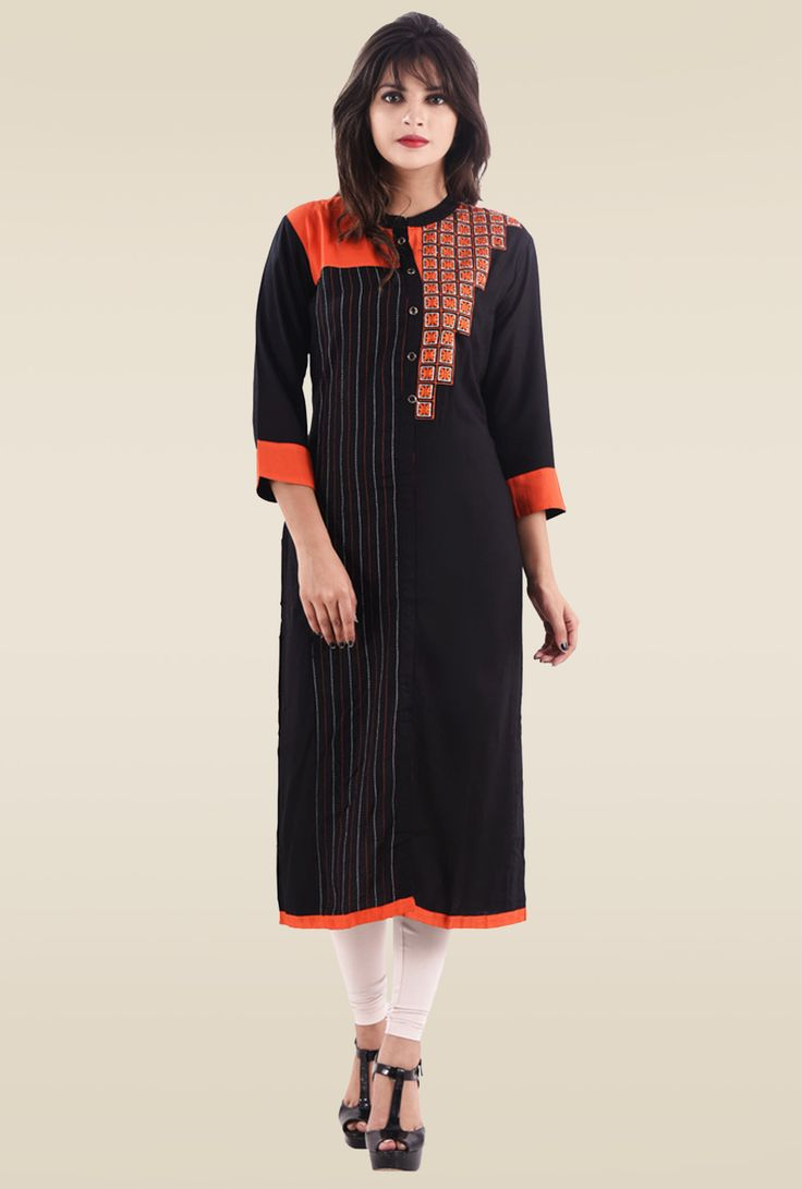 Black Rayon 3/4th Sleeves Embroidered Kurti #Kurti #Black #Rayon #3/4th Sleeves