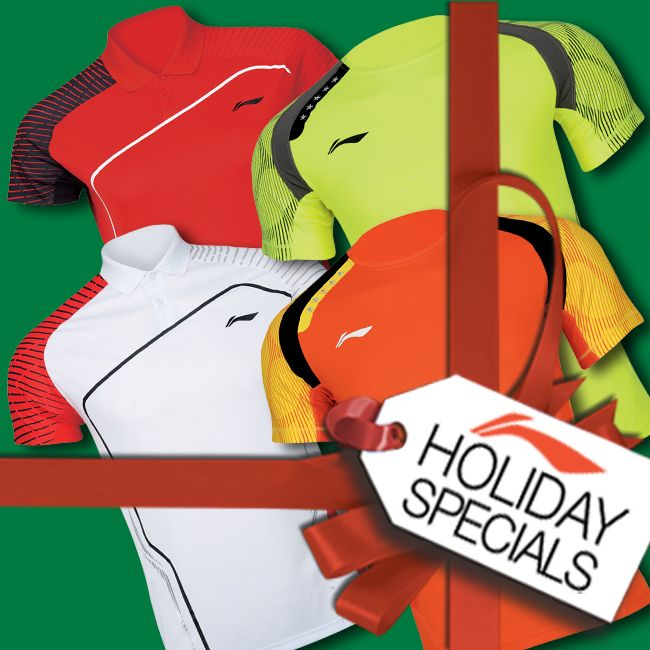 HOLIDAY SPECIALS! Treat someone you LOVE with the Li-Ning Badminton products they've always wanted this year! We're FULLY STOCKED with one of the largest selections of badminton clothing and equipment anywhere! See your local dealer or visit www.shopbadmintononline.com/clothing-for-badminton-c-5.html and #MakeTheChange!