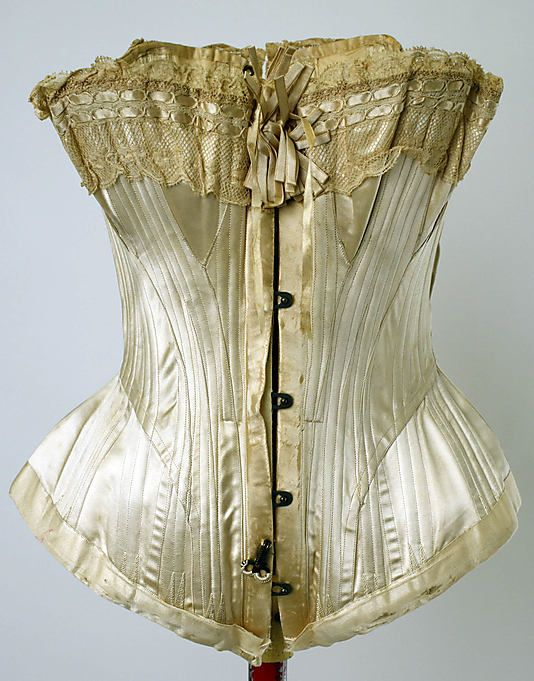 1880, America - Wedding corset - Silk, cotton
