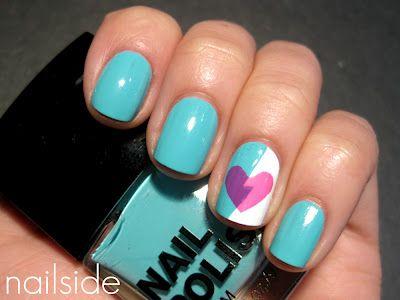 Mint & heart nails