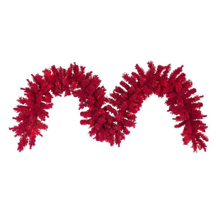 Vickerman 9 ft. Flocked Red Pre-Lit Garland with 100 Red LED Lights - K168115LED