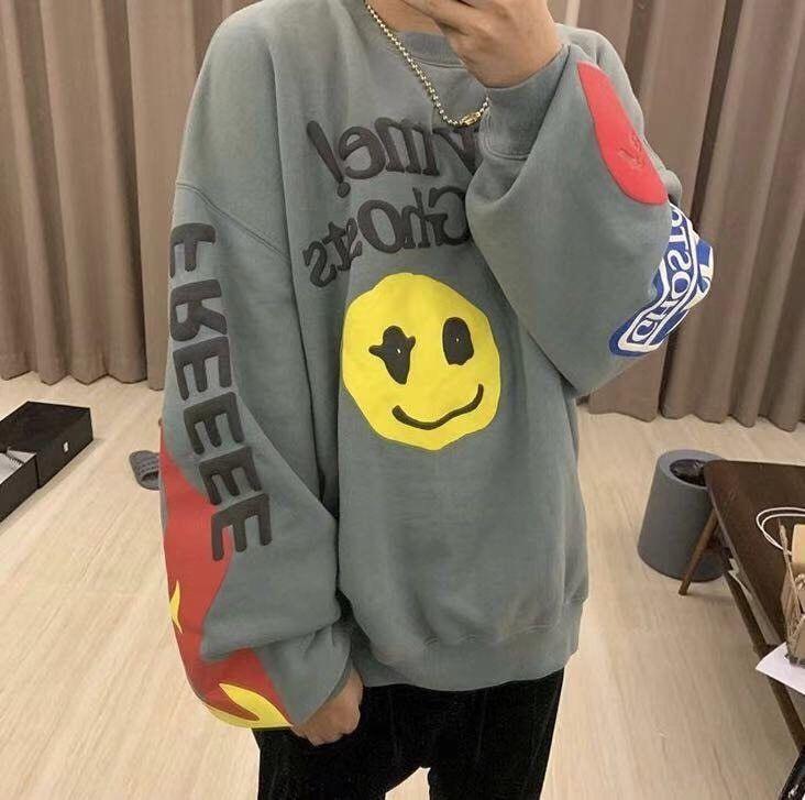 Kendall Jenner Kids See Ghost Smile Face Funky Oversized Sweatshirt Men Women Fashion Clothing Shoes Mens Sweatshirts Clothes For Women Oversized Sweatshirt