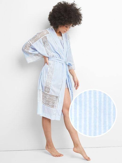 8c97bb6508 Gap Womens Dreamwell Lace Trim Robe Narrow Stripe Blue