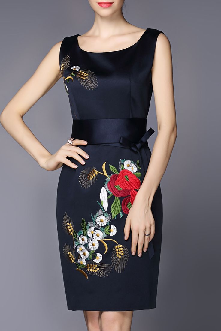 Gyalwana Navy Blue Slimming Flower Embroidery Dress | Knee Length Dresses at DEZZAL