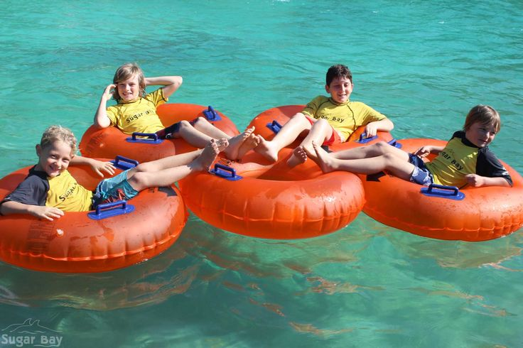 Just chilling out in the pool with our camp's brand new inflatable water tubes...