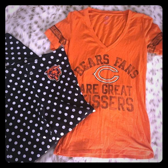 SALEVS PINK Chicago Bears T Shirt and Leggings Victoria's Secret pink Chicago Bears t shirt and polka dot bears leggings! Both size small ! T shirt says bears fans are great kissers! Both only used a few times! In great condition ! PINK Victoria's Secret Other