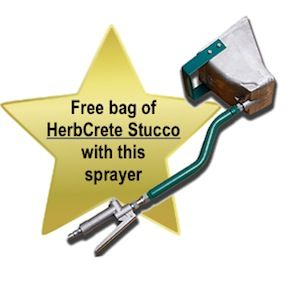 4 Jet Wall Blaster Stucco Sprayer for stuccoing interior and exterior walls, plus free sample bag of premium HerbCrete Stucco Core Mix with each sprayer.