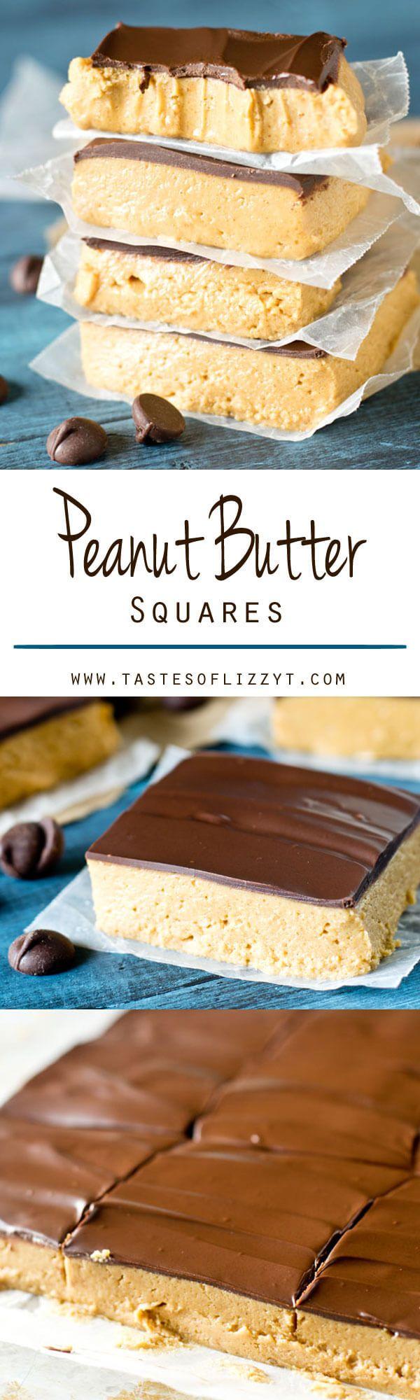 Manteiga de amendoim Squares são o deleite clássico refeitório da escola de sua infância.  Esta sobremesa não-coza tem uma camada espessa de manteiga de amendoim coberto com uma camada de chocolate.