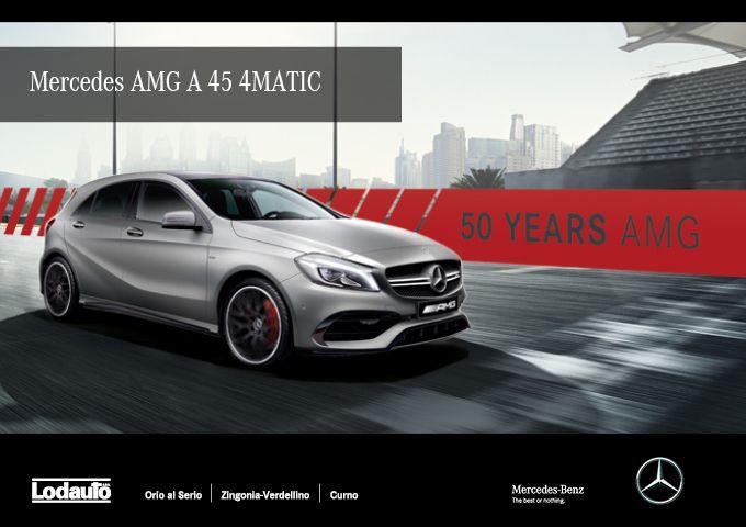 """Festeggia il 50° anniversario di #Mercedes #AMG con la Serie speciale #MercedesAMG A 45 #4MATIC """"Edition 50""""! Vieni a scoprirla presso le concessionarie #LodautoBergamo di Orio Al Serio, Curno e Zingonia-Verdellino!"""