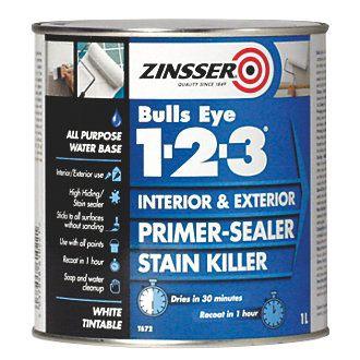 Zinsser Bulls Eye 1-2-3 Primer-Sealer 1Ltr   Primer Paints   Screwfix.com