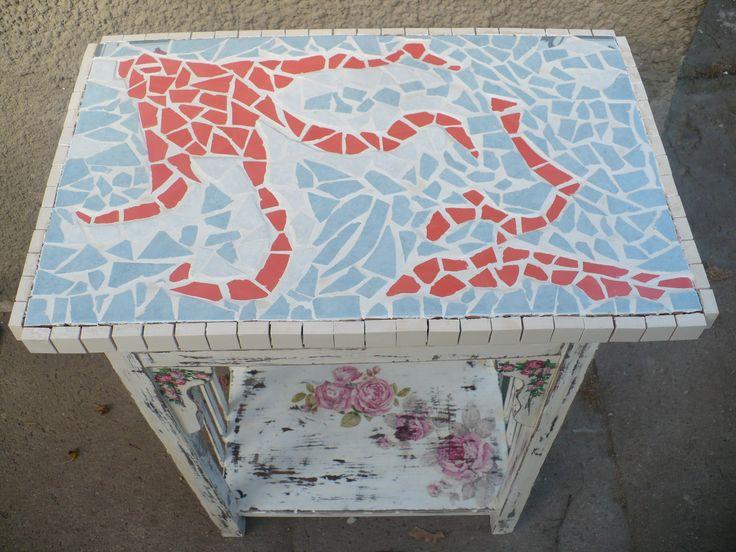 stolik decoupage+mozaika