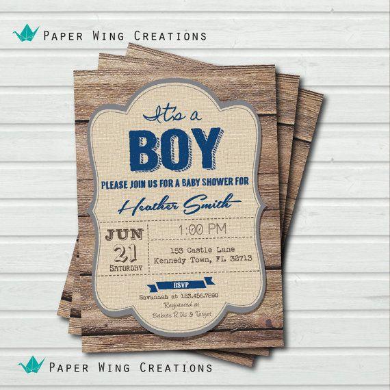 Baby boy shower invitation. Rustic wood baby shower invitation. Navy blue burlap. It's a boy. Printable digital invite. B82 on Etsy, $13.00