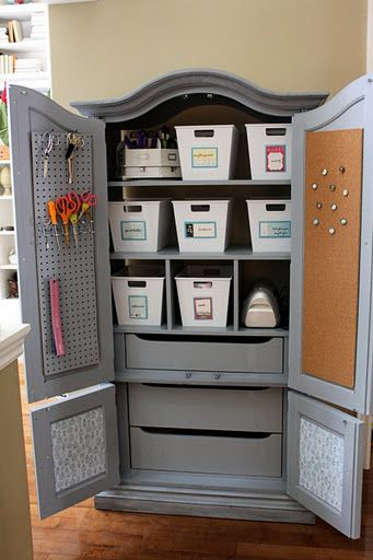 Several ways to repurpose an old TV armoire (with links). This craft closet pictured might be my favorite, but there are some other really cool ideas.