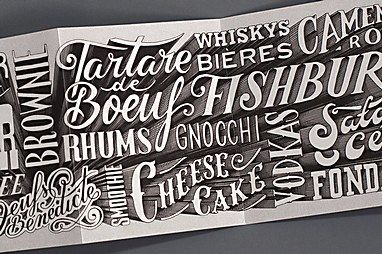 Lettering artist and designer Alexis Taieb of Tyrsa takes on the BarberShop restaurant identity & menus.