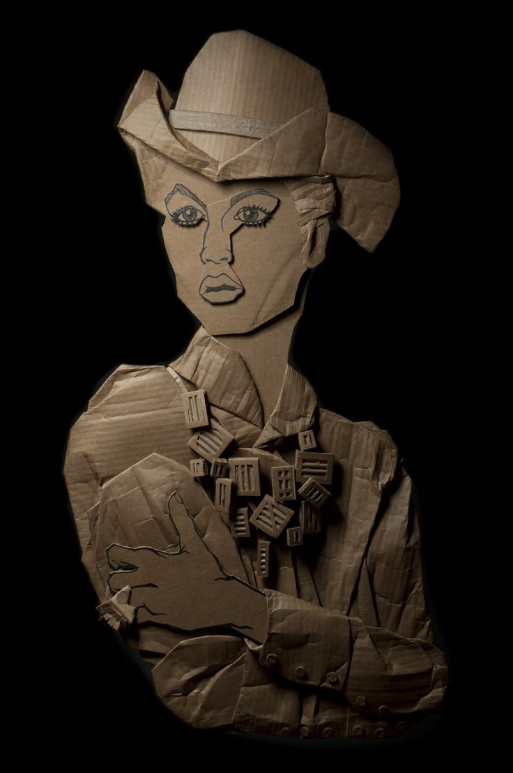 Cowgirl Glam / Ali Golzad Recycled, Corrugated Cardboard 94cm x 53cm (37″x 21″) Inspired by: Photographer David Sims