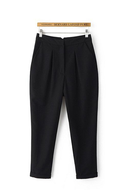 negras recortadas cónicos Pantalones - US$23.95 -YOINS