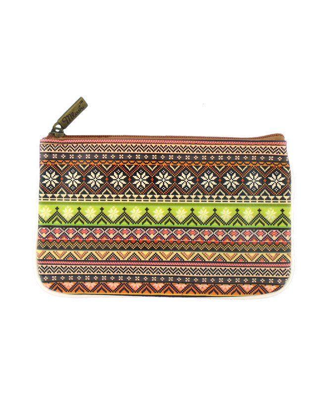 Eco-friendly, toxic-free vegan leather Aztec pouch