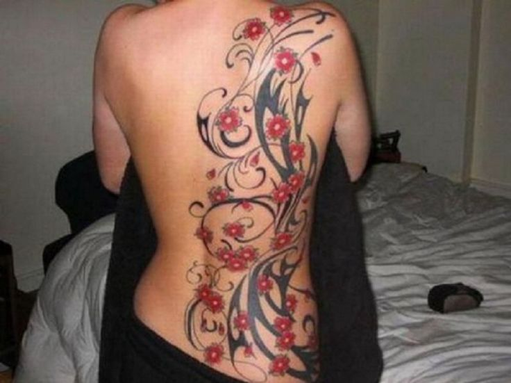 Lovely Side Back Red Black Flower LA Ink Tattoo - Inofashionstyle.