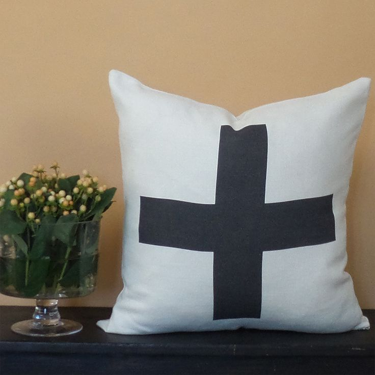 Pure Linen from Belgium with charcoal cross. http://parkblvd.ca/collections/lounging/products/pure-linen-plus-sign-1