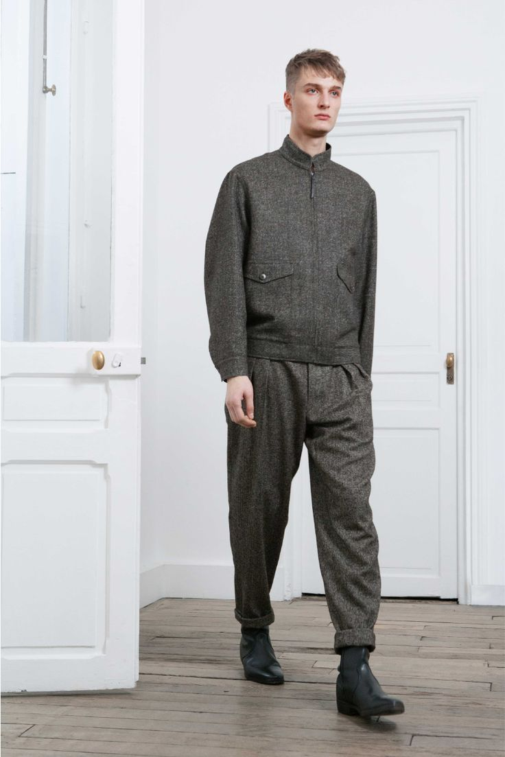 15. Zipped blouson and two-pleated pants in alpaca wool tweed / Boots in vegetal calf leather