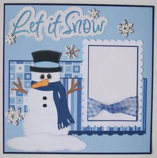 Sweet Blue & White Snowman Layout...BLJ Graves Studio.