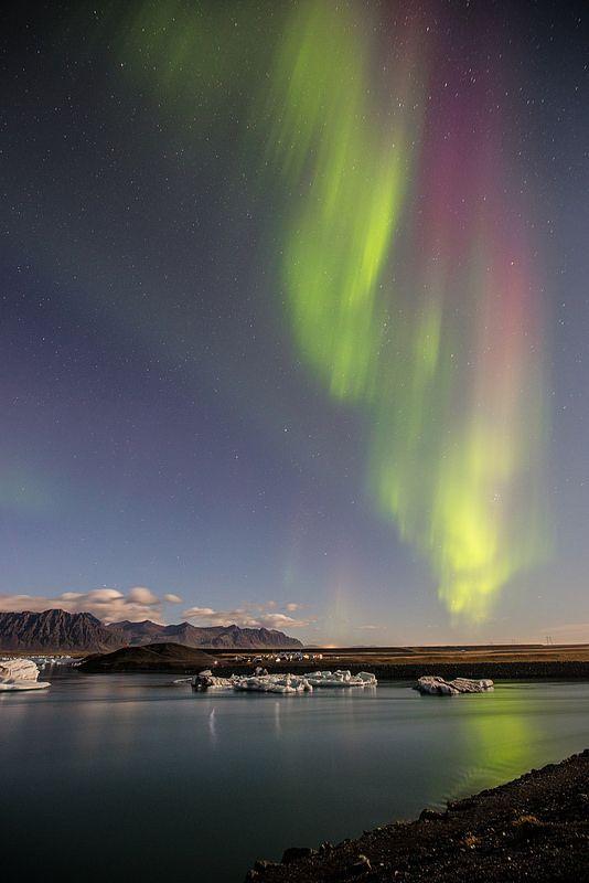 Iceland - Northern Lights over Jökulsarlon  #Iceland #Northernlights #Landscape #Jökulsarlon #nature