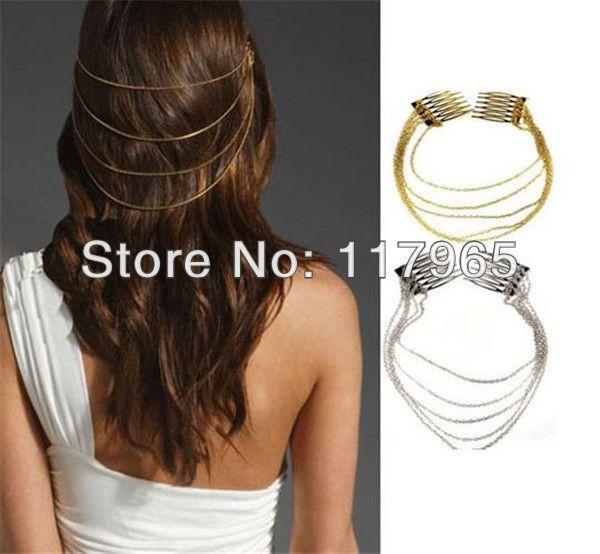 Min.order é $ 10 (ordem da mistura) Cadeias Moda Punk cabelo Cuff Pin Clipe 2 Combs borlas de prata Cabeça Banda / Ouro ZYJ63 US $1.59
