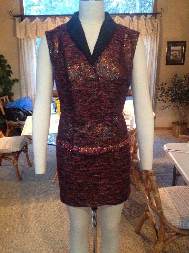 Novelty fabric fringed vest and skirt