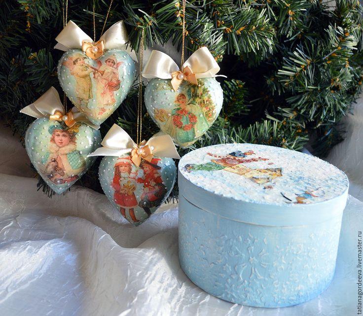 """Купить Набор  новогодних сердечек в коробе """"Винтажное рождество"""" - Новый Год, новогодний подарок"""