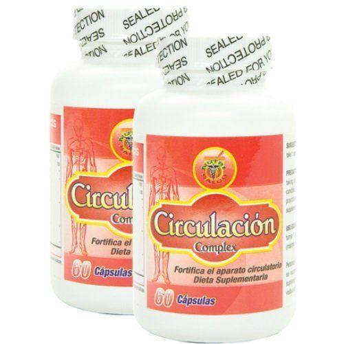 Circulacion Complex, Capsulas naturales para la circulacion. Set de 2 frascos.Combaten Varices, Calambres, hinchazon de pies y manos, ayudan a bajar el colesterol.  Set de 2 frascos con 60 Capsulas cada uno. Tratamiento para 2 meses.  Hecho a base de hierbas y raices naturales para promover una buena circulacion sanguinea en el organismo. Producto 100% natural.  Combate: Adormecimiento de pies y manos, hinchazon, alto colesterol, calambres  Regula la presion arterial. Desinflama las ve...