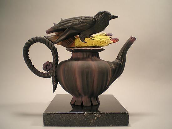 """Crow Corn Tea"" Ceramic Teapot by Nancy Y. Adams"