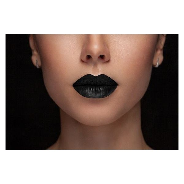 Blackest Black Matte Lipstick ❤ liked on Polyvore featuring beauty products, makeup, lip makeup, lipstick, long wear lipstick and long wearing lipstick