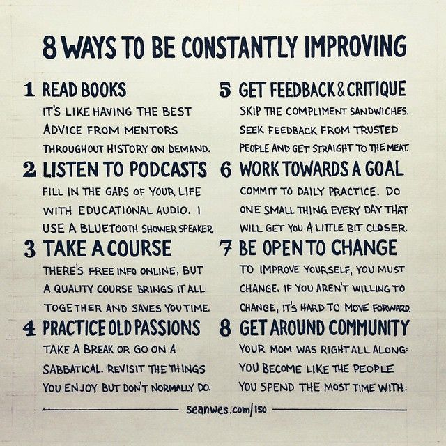 8 Ways to Be Constantly Improving http://seanwes.com/150 (scheduled via http://www.tailwindapp.com?utm_source=pinterest&utm_medium=twpin&utm_content=post29912762&utm_campaign=scheduler_attribution)