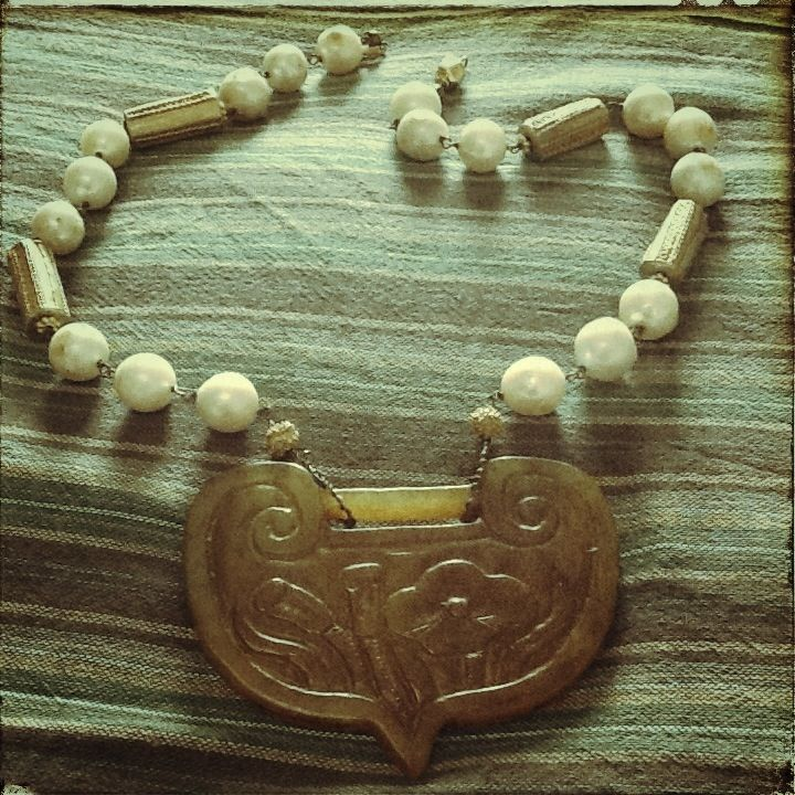 necklace - freshwater pearls + #african trade beads + chinese #jade pendant with #lotus flower