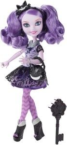 Ever After High Dolls: Kitty Cheshire Doll Kitty Cheshire, the practical joker and is she is missing her armband and fur cuffs. When character dolls are made, you would expect them to resemble the character down to the fur cuffs. There is way too much of a purple that it is almost overwhelming. Like Madeline she is shorter than the other dolls.  http://awsomegadgetsandtoysforgirlsandboys.com/ever-after-high-dolls/ Ever After High Dolls: Kitty Cheshire Doll