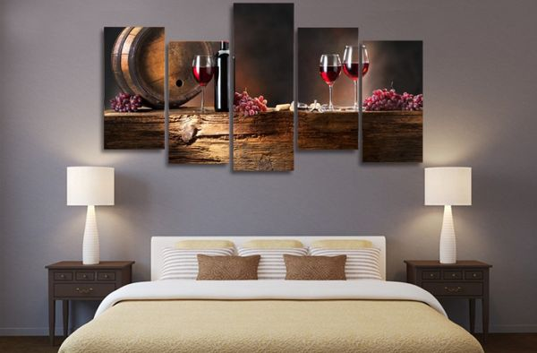 5 Pieces Multi Panel Modern Home Decor Framed Classic Aged Red Wine Wall Canvas…