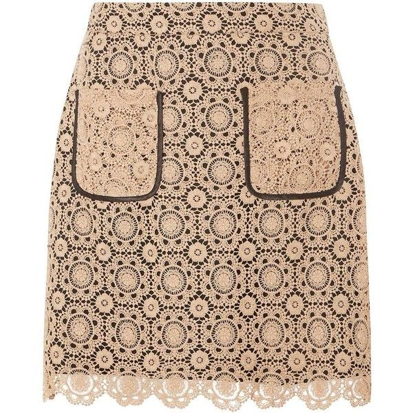 Dorothy Perkins Cream Lace A-line Skirt (£37) ❤ liked on Polyvore featuring skirts, bottoms, cream, lace a line skirt, cream skirt, dorothy perkins, beige lace skirt and knee length a line skirt