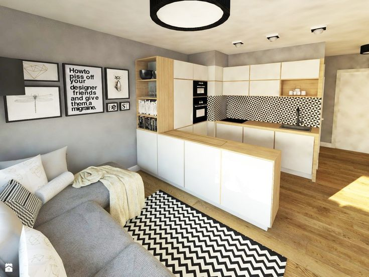 Salon z aneksem. - zdjęcie od IN-HOME - Salon - Styl Skandynawski - IN-HOME
