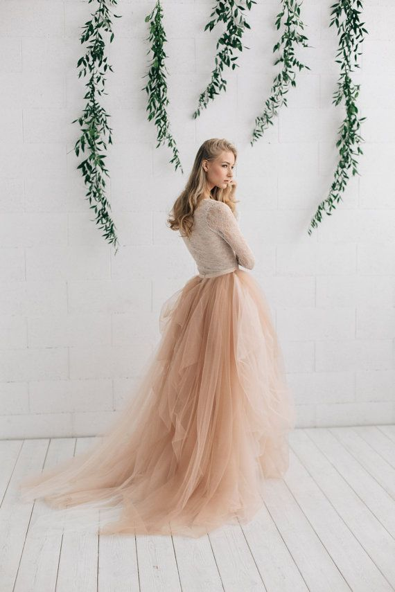 Lace Wedding Dress, Tulle Bridal Skirt, 3D Floral Lace Gown, Open Back Wedding Dress, Deep V Wedding Dress, Sheer Wedding Gown – ADRIANNE